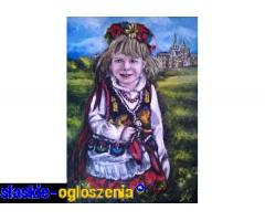 Dziewczynka w stroju Krakowskim - sprzedam obraz olejny